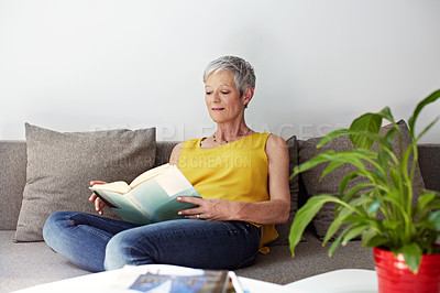 Buy stock photo Shot of a mature woman sitting on her sofa reading a book