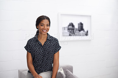 Buy stock photo Portrait of a smiling young woman at home