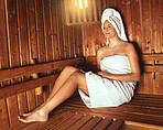 Letting the sauna relax and pamper her