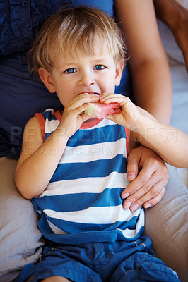 Buy stock photo Little kid sitting with family and eating a piece of watermelon