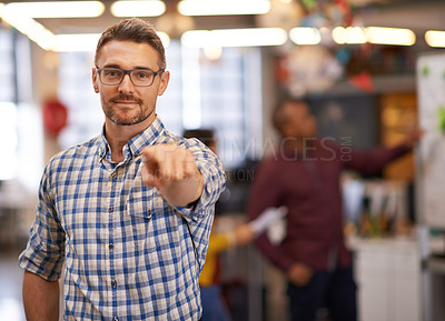 Buy stock photo Cropped shot of a mature businessman pointing at the camera