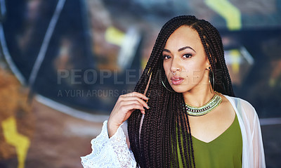 Buy stock photo Cropped portrait of an attractive young woman with piercings