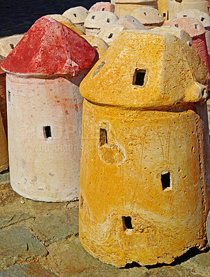 Buy stock photo Clay windmills figures of traditional old time windmills in Bodrum area, Turkey