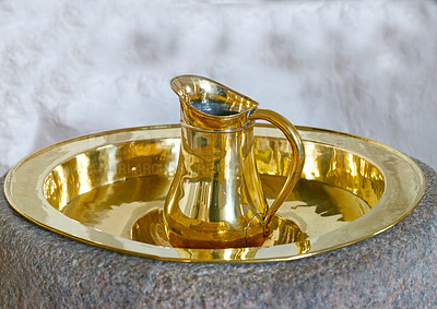 Buy stock photo An image a baptismal font, typical of the Danish National Church,   Denmark.