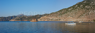Buy stock photo Small boat - large lake in Western Turkey