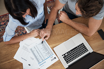 Buy stock photo High angle shot of a couple working at home