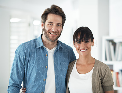 Buy stock photo Cropped oortrait of a happy couple at home