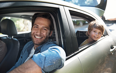 Buy stock photo Cropped portrait of a father and his young son on a roadtrip