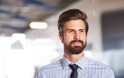 Buy stock photo Shot of a young executive standing in the office