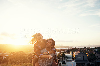 Buy stock photo Cropped shot of an affectionate young couple outdoors