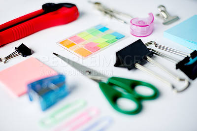 Buy stock photo High angle shot of stationery on a table