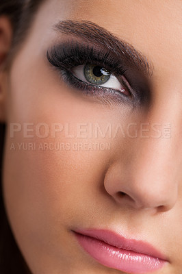 Buy stock photo Beauty portrait of a young woman with flawless makeup