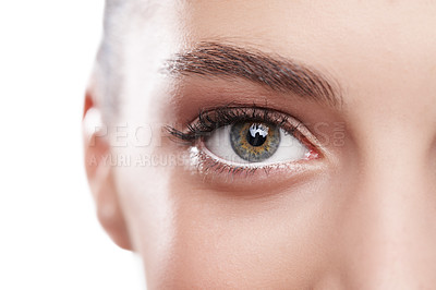 Buy stock photo Closeup shot of a beautiful woman's green eye