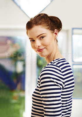 Buy stock photo Portrait of a confident young woman at home