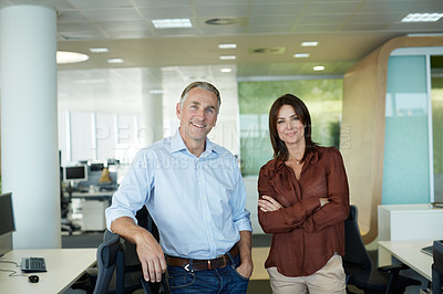 Buy stock photo Portrait of two businesspeople standing in the office