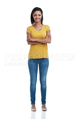 Buy stock photo Studio portrait of a confident young woman isolated against white