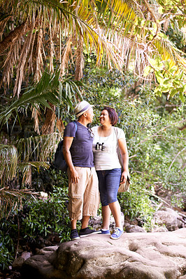 Buy stock photo Full length shot of a mature couple hiking in the forest