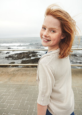 Buy stock photo Cropped portrait of a young girl at the waterfront