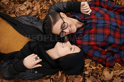 Buy stock photo Shot of a happy young couple sharing a romantic moment on an autumn day in the park
