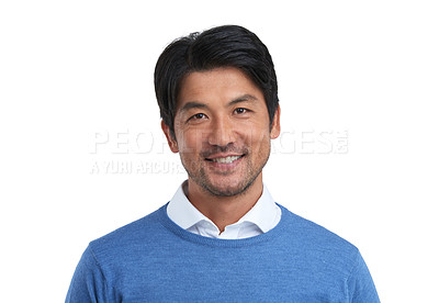 Buy stock photo Studio portrait of a confident businessman posing against a white background