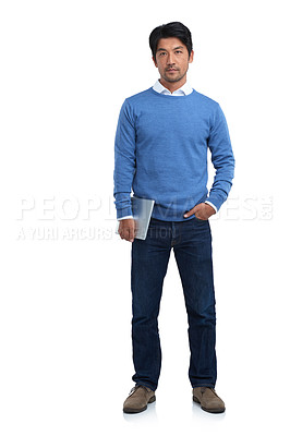 Buy stock photo Studio portrait of a businessman holding his digital tablet against a white background