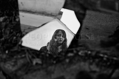 Buy stock photo Black and white shot of a woman's reflection in a mirror