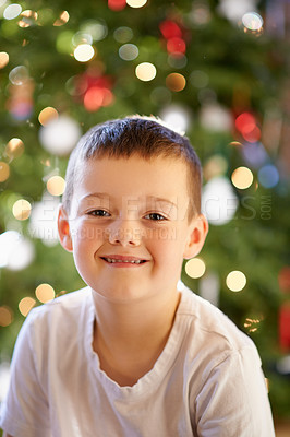 Buy stock photo Portrait of a happy little boy at home on Christmas