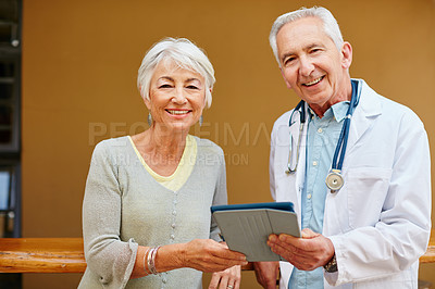 Buy stock photo Portrait of a senior woman visiting her doctor