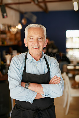 Buy stock photo Portrait of a senior man working in a coffee shop