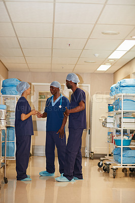 Buy stock photo Full length shot of medical staff in a hospital