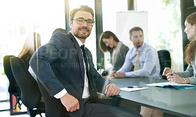 Buy stock photo Portrait of a businessman having a formal meeting in a boardroom