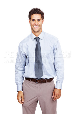 Buy stock photo Portrait of a smiling young business man standing relax over white background