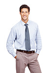 Confident young businessman standing against white background