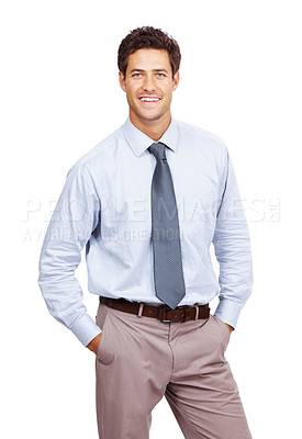 Buy stock photo Portrait of a happy young business man standing with his hands in pocket over white background