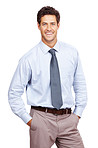 Smiling business man standing with his hands in pocket