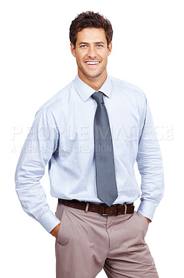 Buy stock photo Portrait of a businessman standing with his hands in pocket and smiling isolated against white background