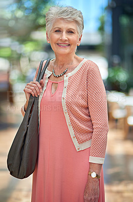 Buy stock photo Cropped portrait of a senior woman out on a shopping spree