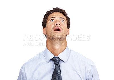 Buy stock photo Portrait of amazed businessman looking up with mouth open against white background