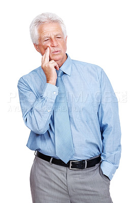 Buy stock photo Portrait of an old business executive lost in deep thought against white background