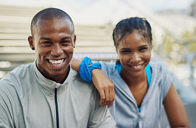 Buy stock photo Portrait of a young sporty couple out for a workout
