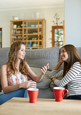 Buy stock photo Shot of two young friends sitting on the living room floor talking together