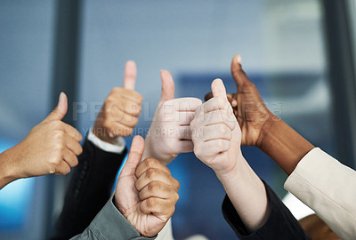 Buy stock photo Shot of a group of hands showing thumbs up
