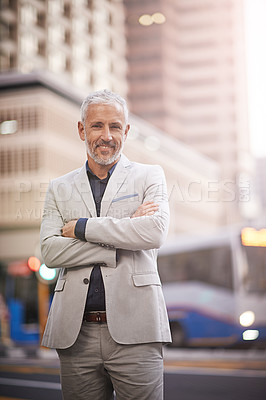 Buy stock photo Portrait of a mature businessman standing outside