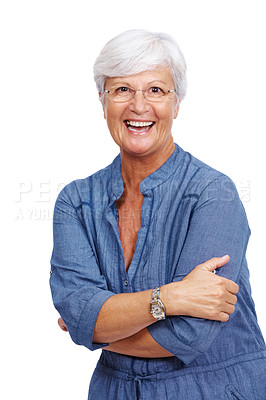 Buy stock photo Portrait of a cheerful old woman standing with folded hands isolated against white background