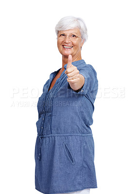 Buy stock photo Portrait of a happy old female gesturing thumbs up sign isolated over white background