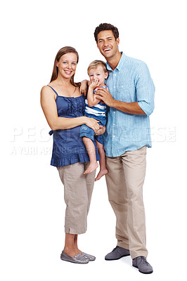 Buy stock photo Full length portrait of a happy young man standing with his wife and child isolated against white background