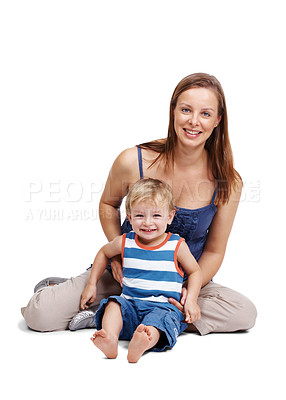 Buy stock photo Portrait of a young mother and small son having fun isolated over white background