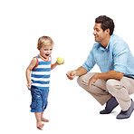 Young father and son playing together on white
