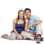 Beautiful young couple sitting together