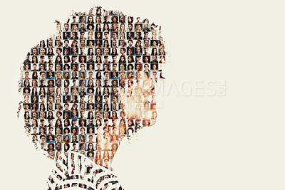 Buy stock photo Composite image of a diverse group of people superimposed on a woman's profile